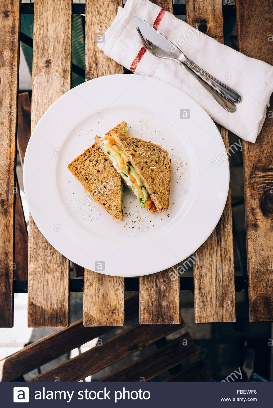 SANDWICH WITH SMOKED SALMON FROM ABOVE - Stock Image