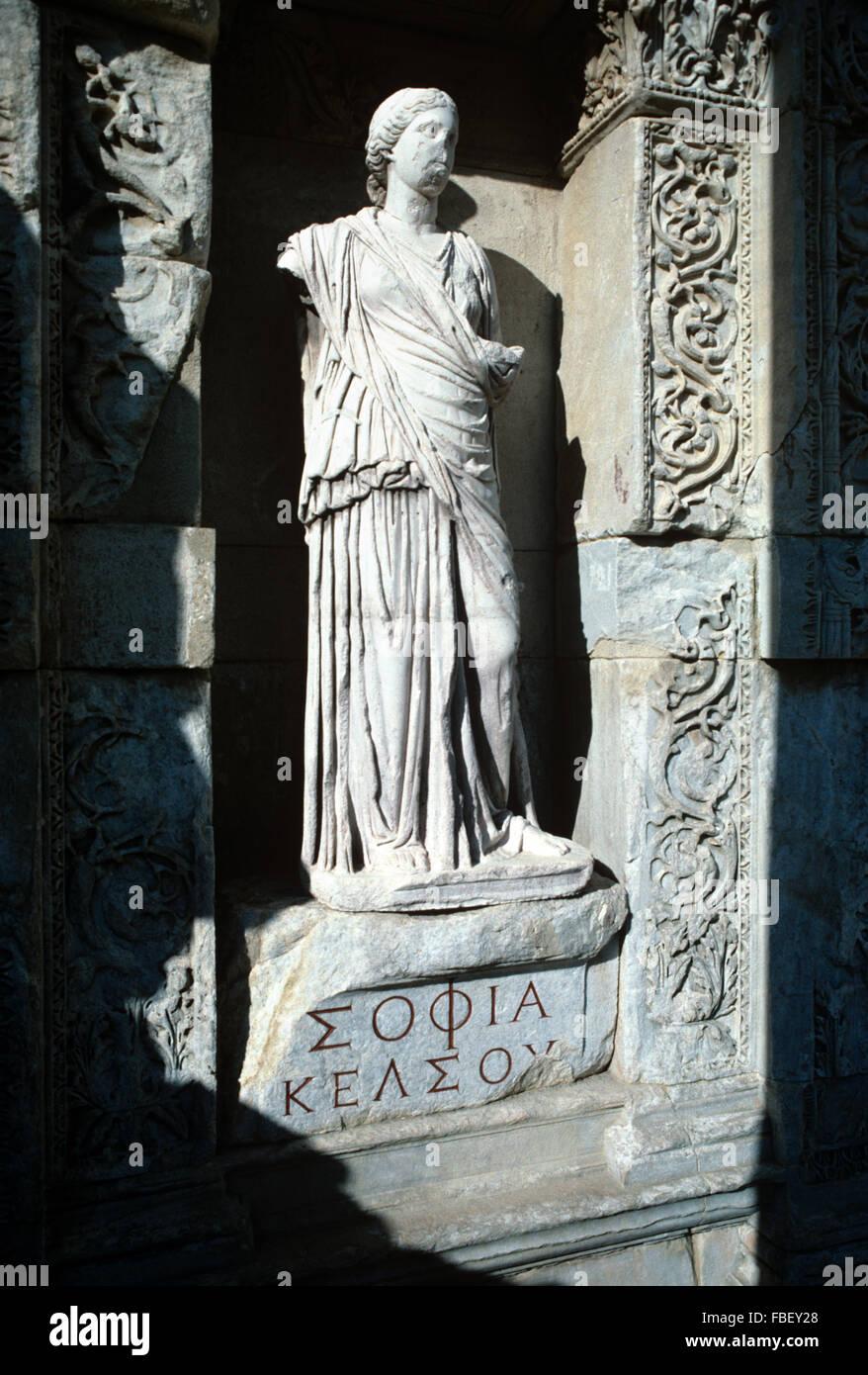 Goddess Sophia, Personification of Wisdom Statue (110-135AD) Celsus Library, Ephesus, Turkey - Stock Image