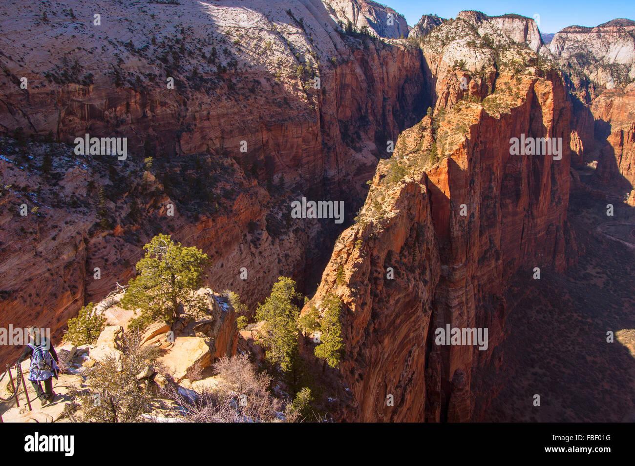 Hike to Angels Landing, Zion National Park, Utah - Stock Image