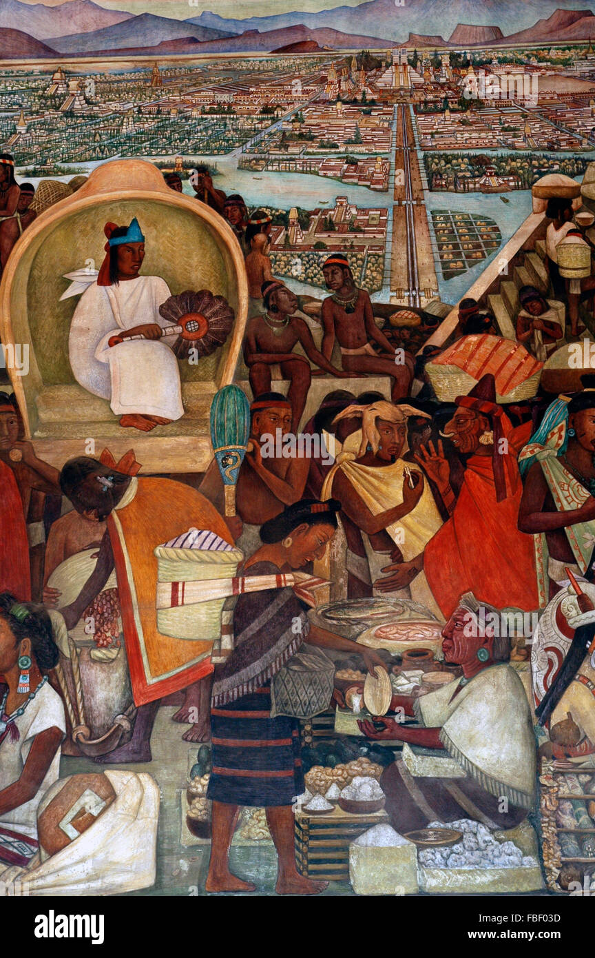 The Great City of Tenochtitlan by Diego Rivera Stock Photo