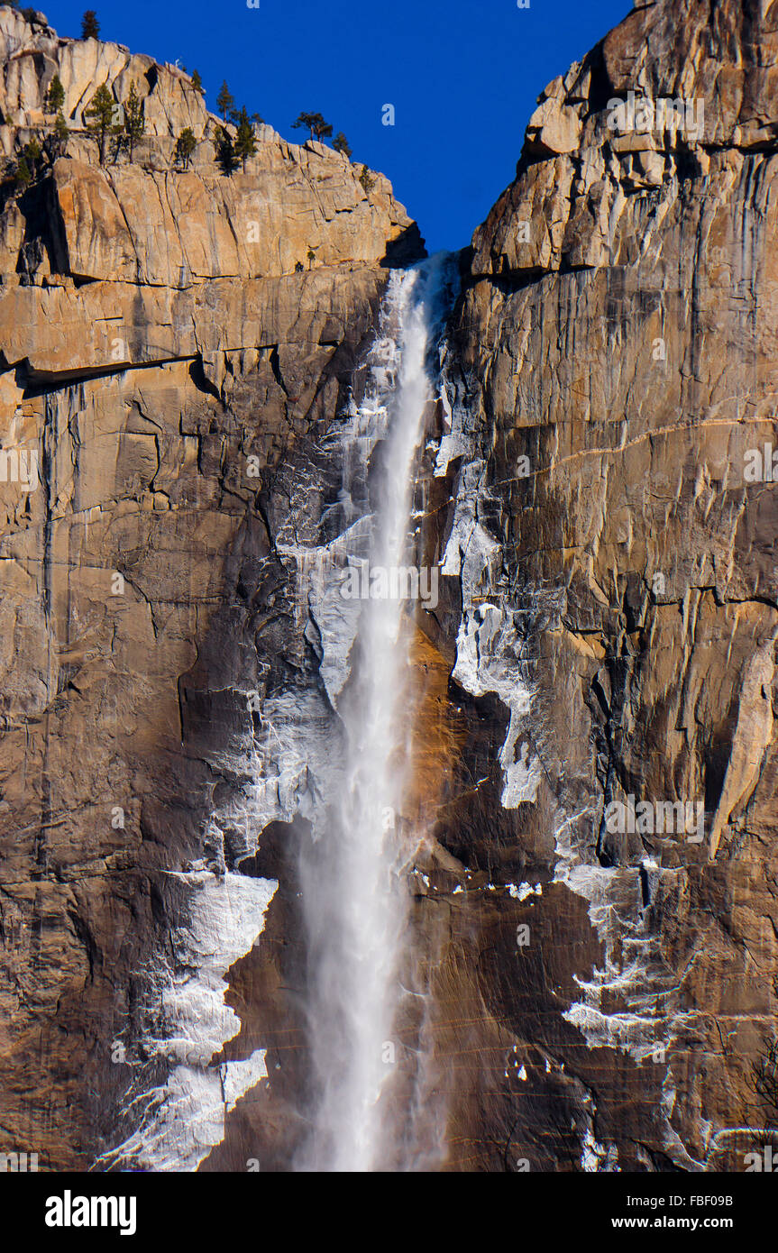 Icy upper Yosemite Falls - Stock Image