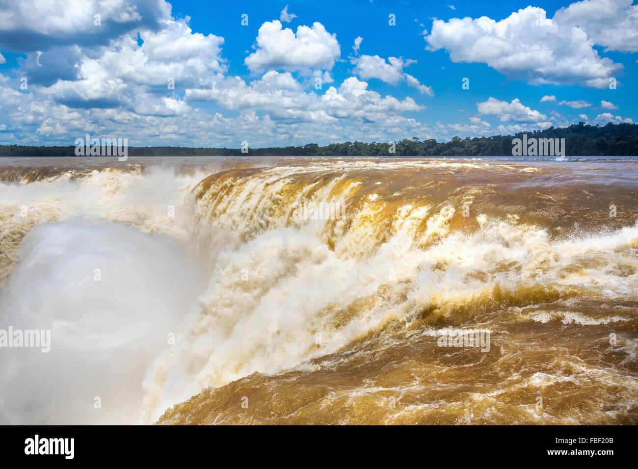 Devil's Throat at Iguazu Falls, on the border of Argentina and Brazil. - Stock Image