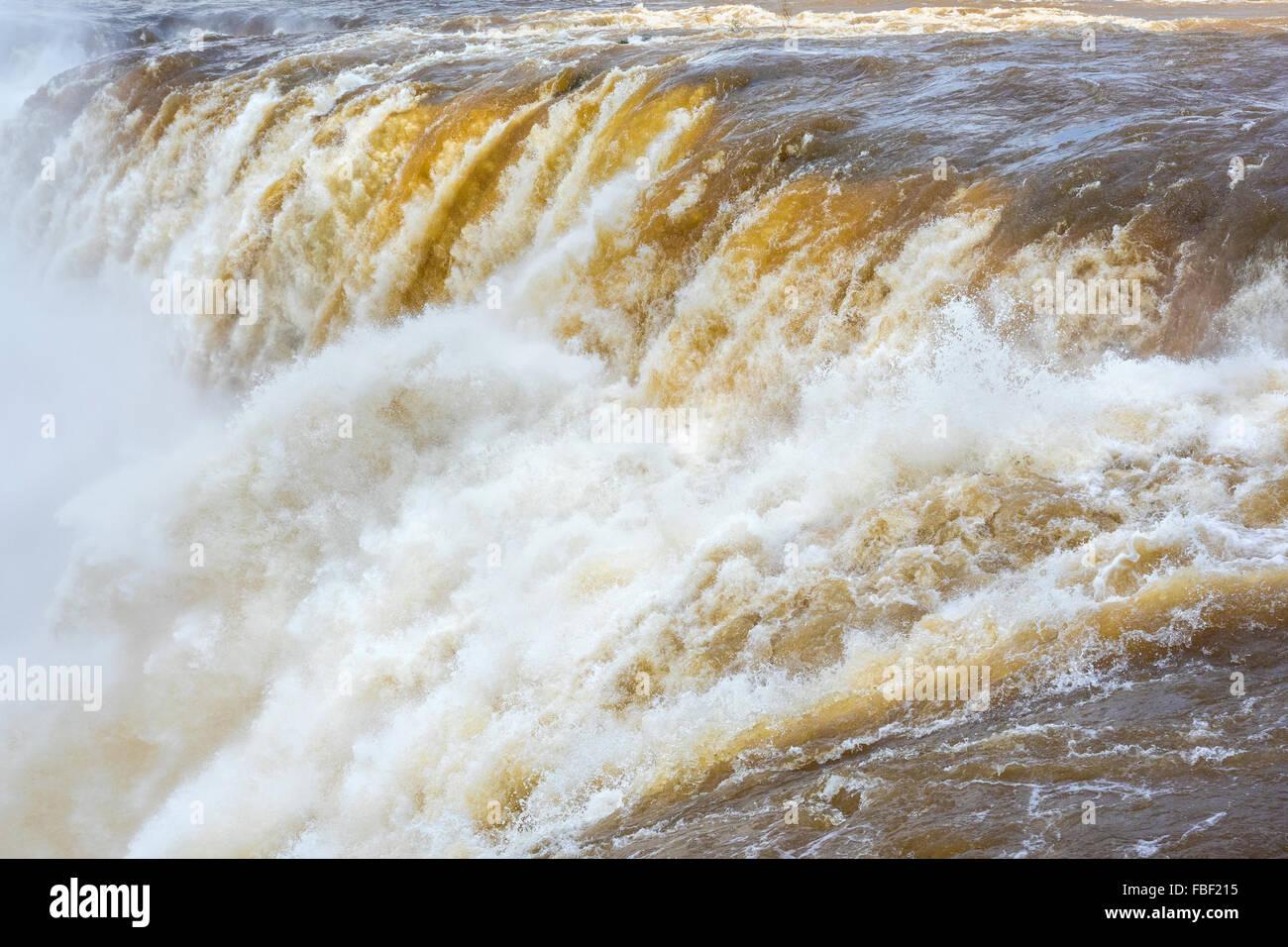 Close up of Devil's Throat (Garganta del Diablo), the largest cascade at Iguazu Falls, on the border of Argentina - Stock Image