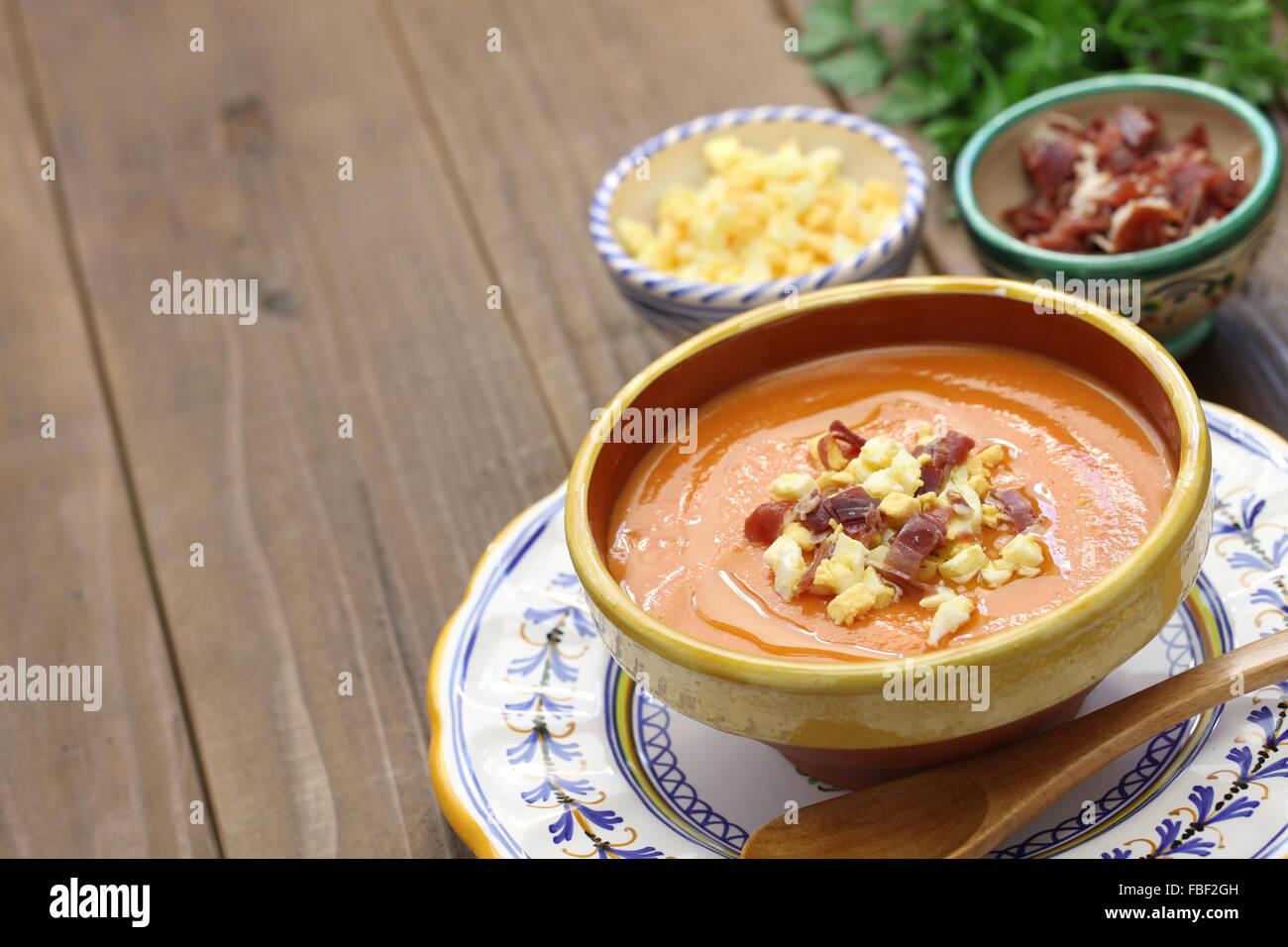 salmorejo, chilled tomato soup, spanish food - Stock Image