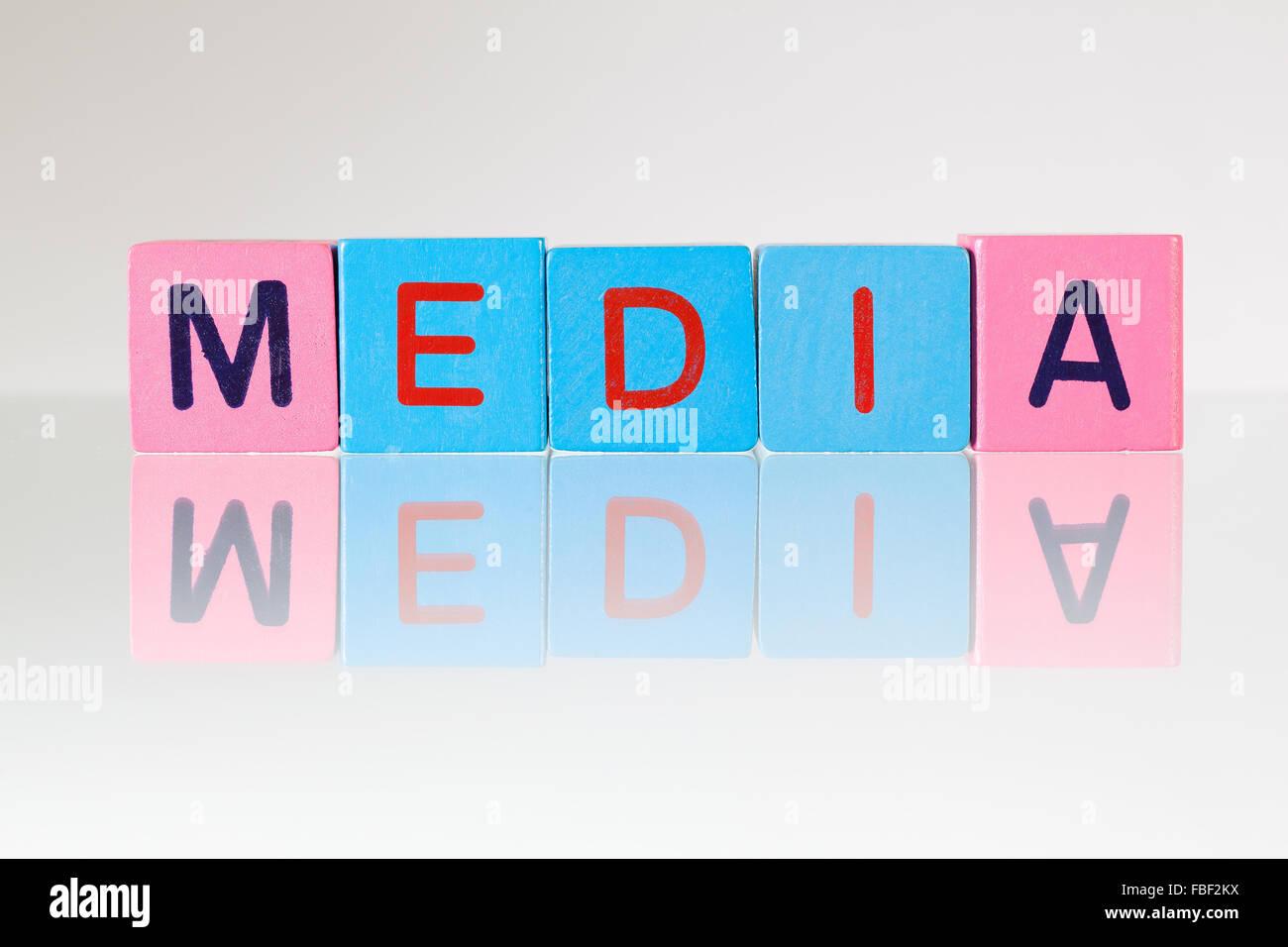 Media - an inscription from children's wooden blocks - Stock Image
