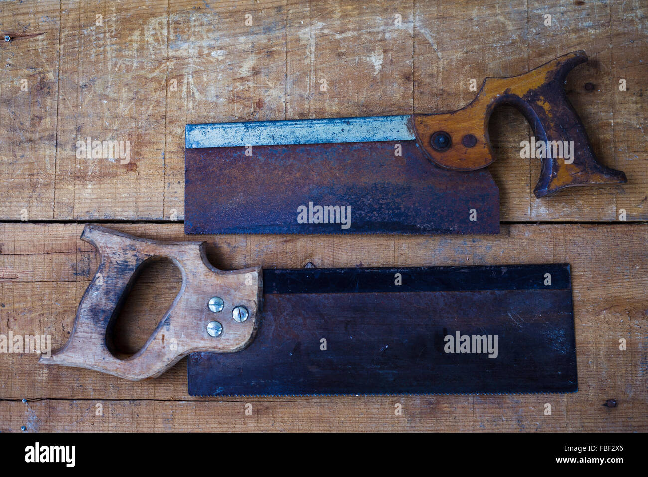 Directly Above View Of Old-Fashioned Carpentry Tools - Stock Image