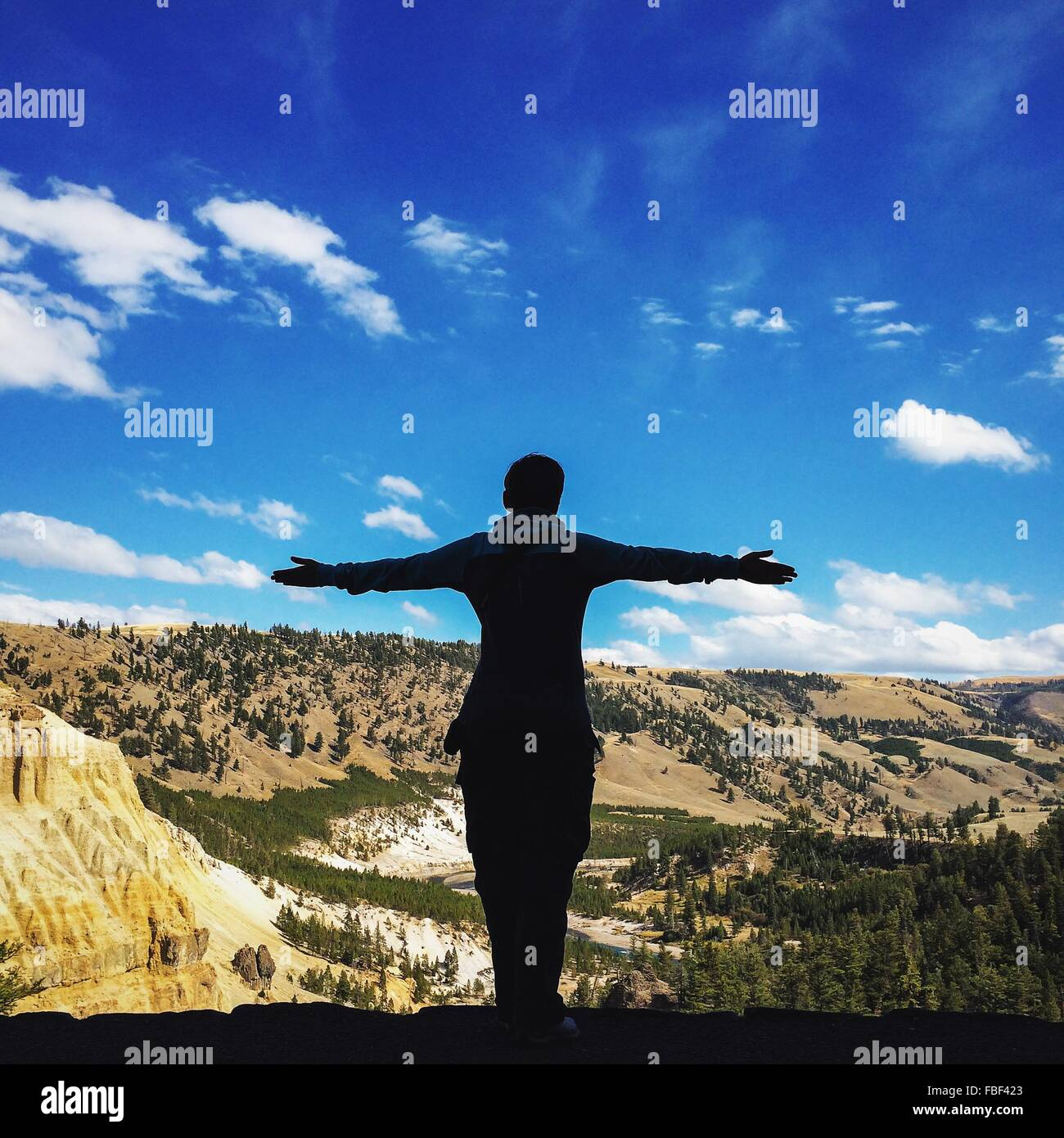 Rear View Of Man Standing With Arms Outstretched By Mountains Against Sky - Stock Image