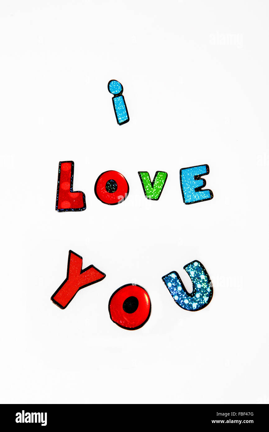Concept message I love you,with colorful letters on white background - Stock Image