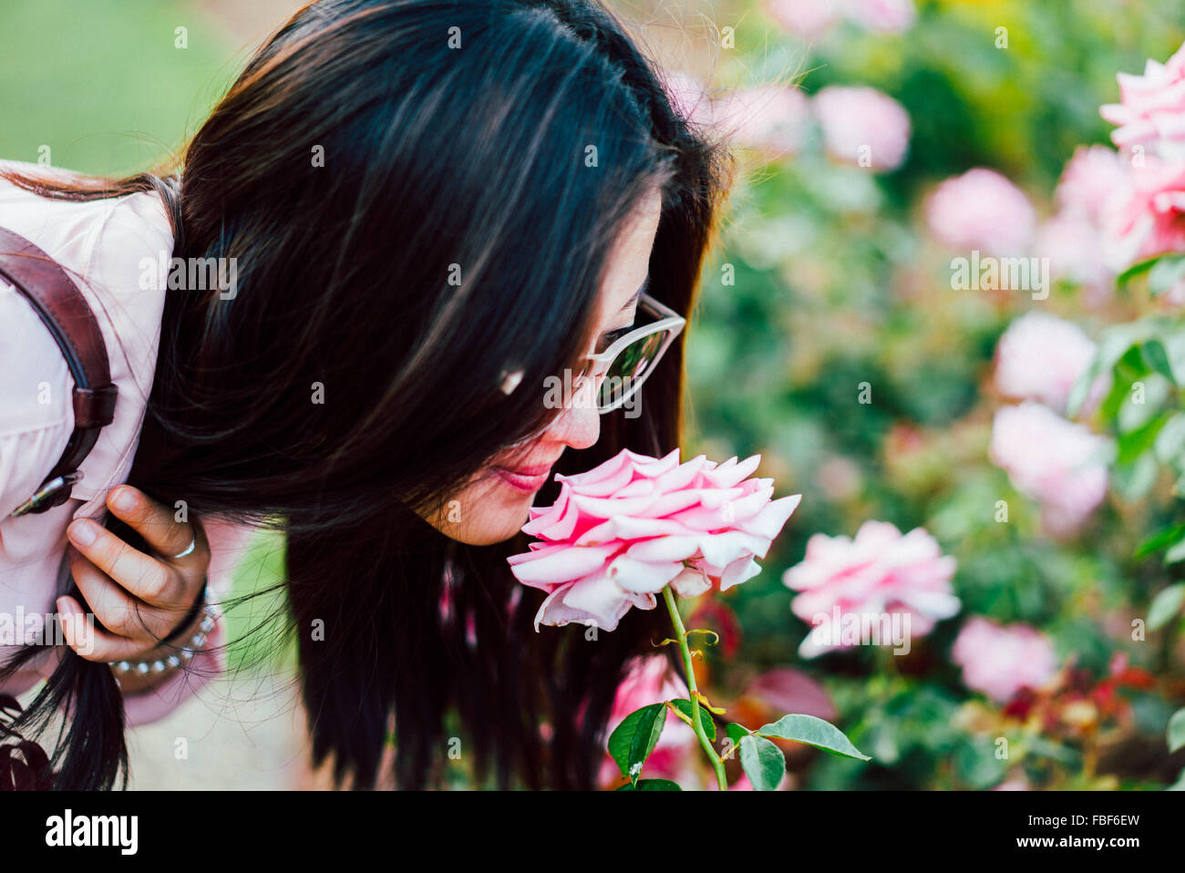 Close-Up Of Young Woman Smelling Pink Flower - Stock Image