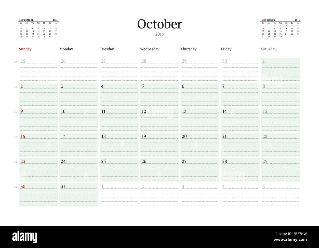 monthly calendar planner 2016 vector print template october week