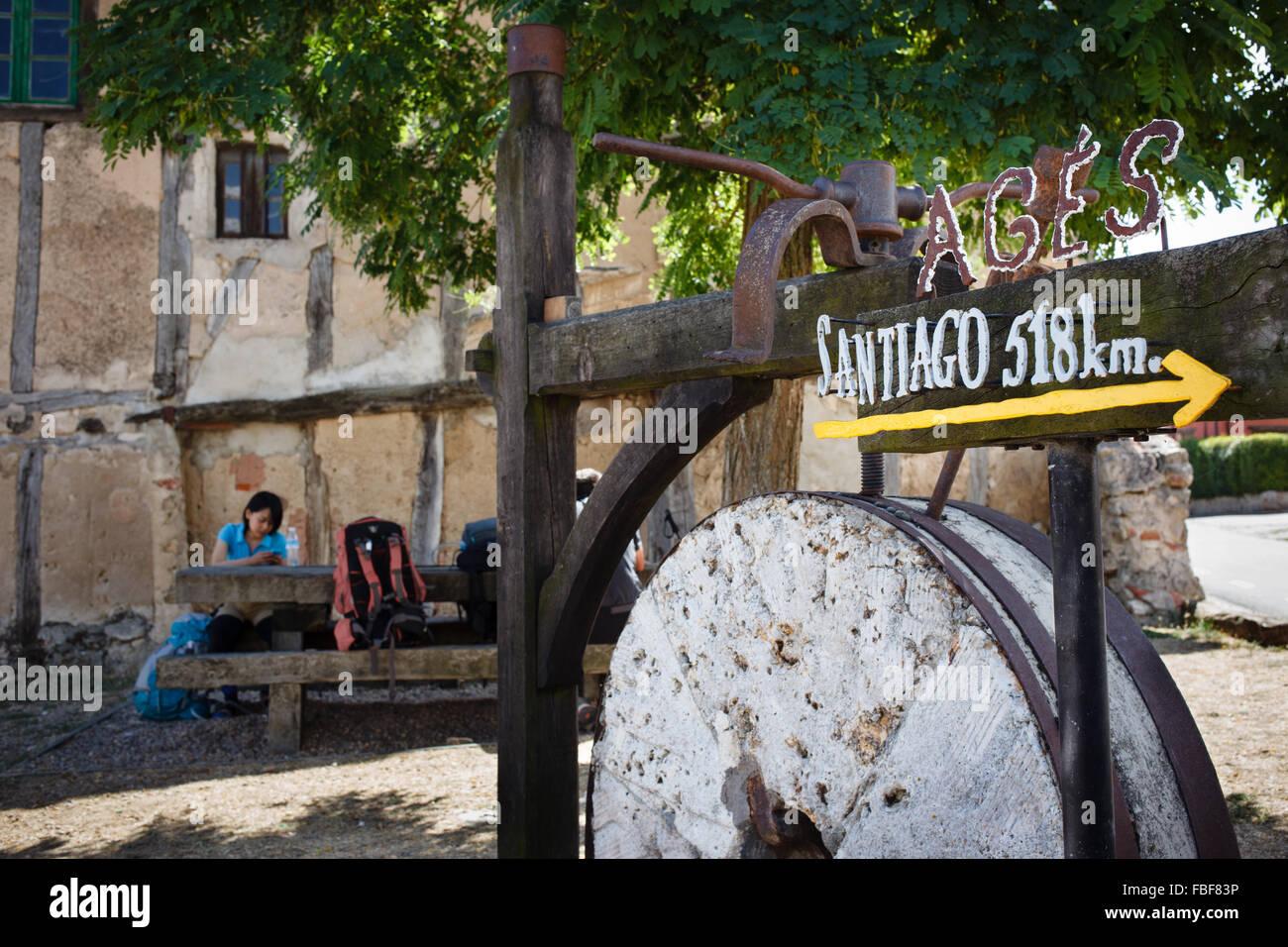 9/9/14 Pilgrim resting along Camino de Santiago in Agés, Burgos, Castilla y Leon, Spain - Stock Image