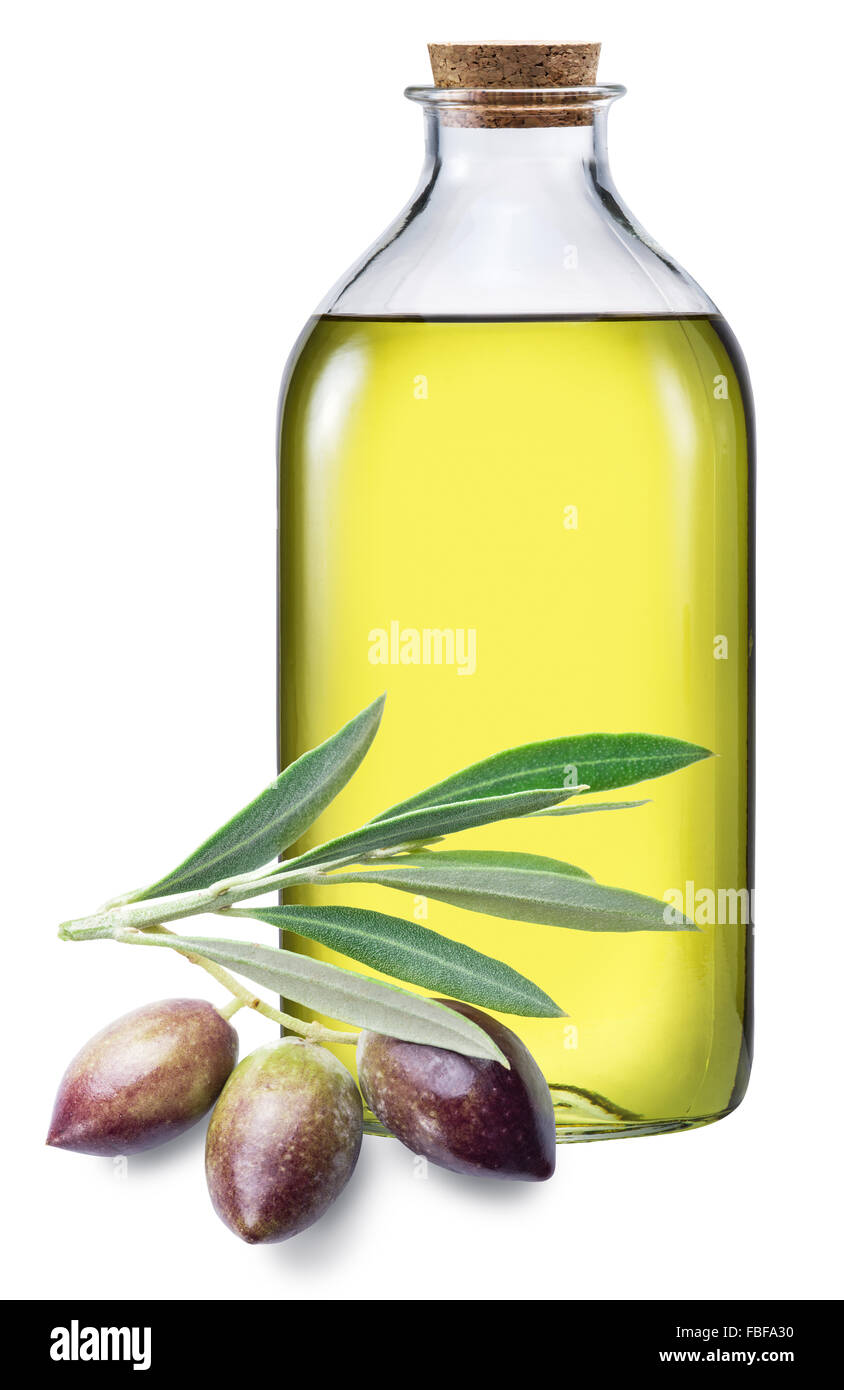 Bottle Of Olive Oil And Berries On A White Background File