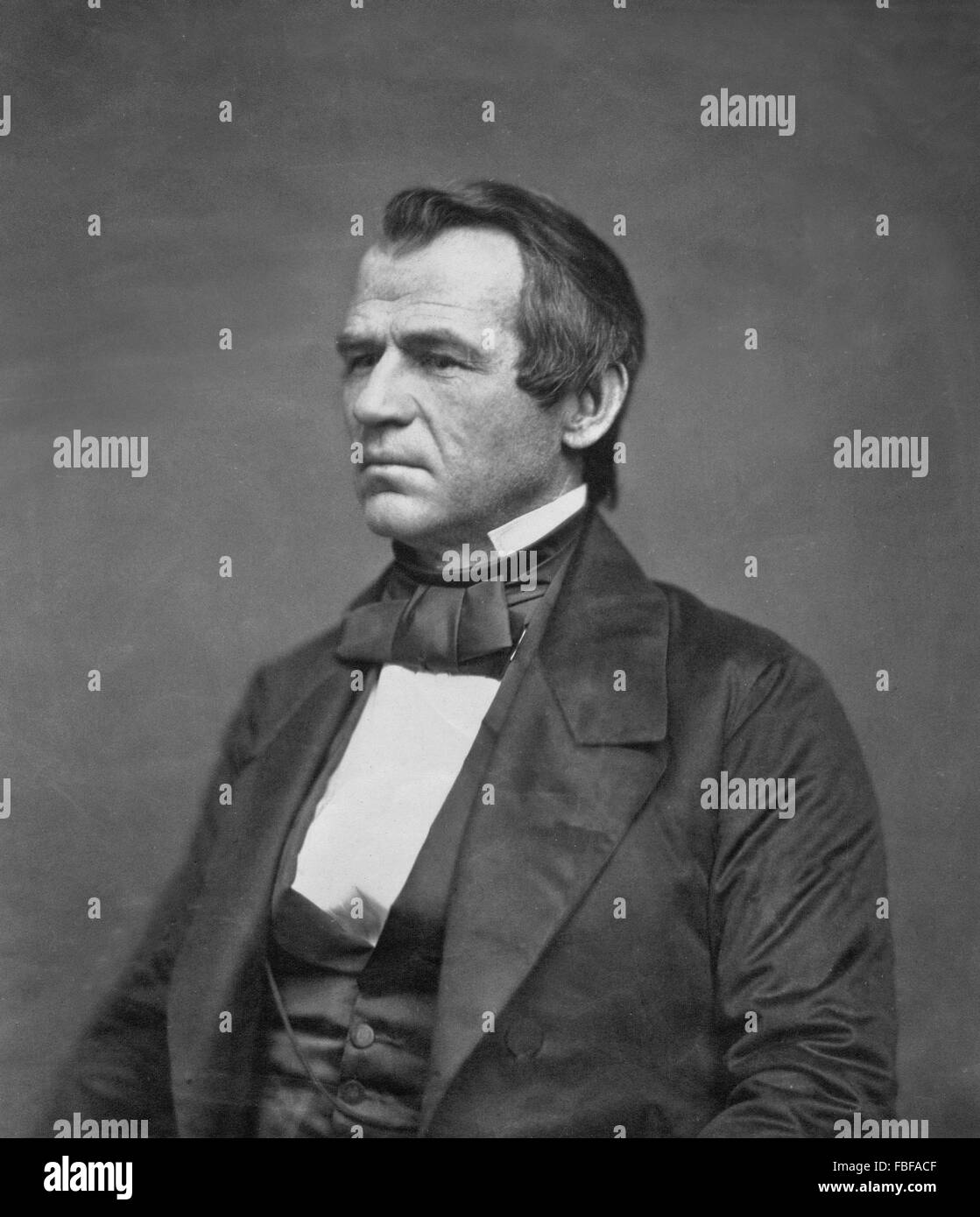 Andrew Johnson, portrait  of the 7th US President by Jesse Harrison Whitehurst, 1860 - Stock Image