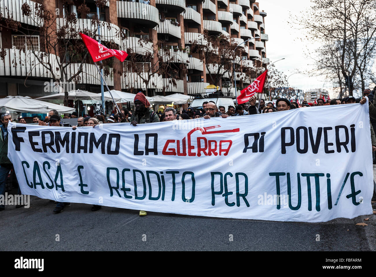 Rome, Italy. 15th Jan, 2016. 'Housing rights' activists take part in a demonstration to protest against forced housing Stock Photo