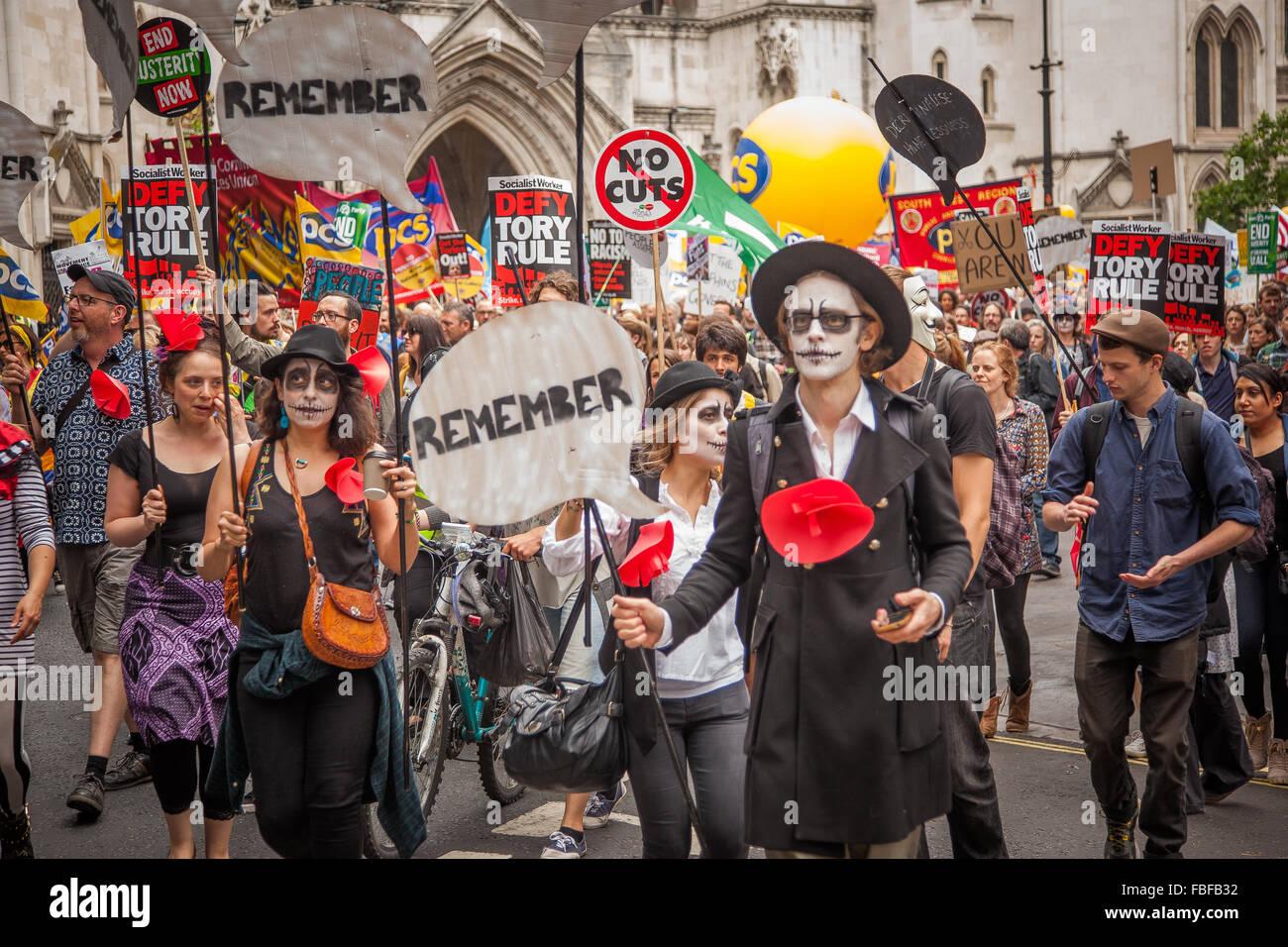 Funky Anti-Austerity Protesters June 2015 London, UK - Stock Image