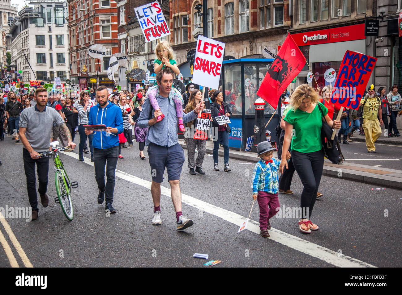 Anti-Austerity Protesters June 2015 London, UK - Stock Image