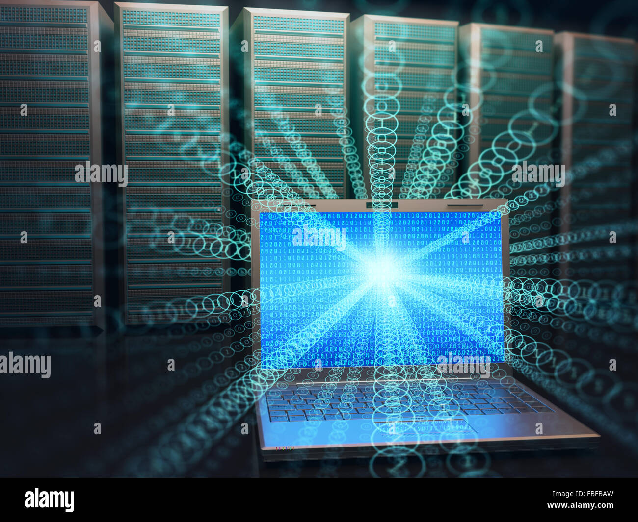 Image concept of technology and science of digital information. One laptop in front of multiple servers with binary - Stock Image