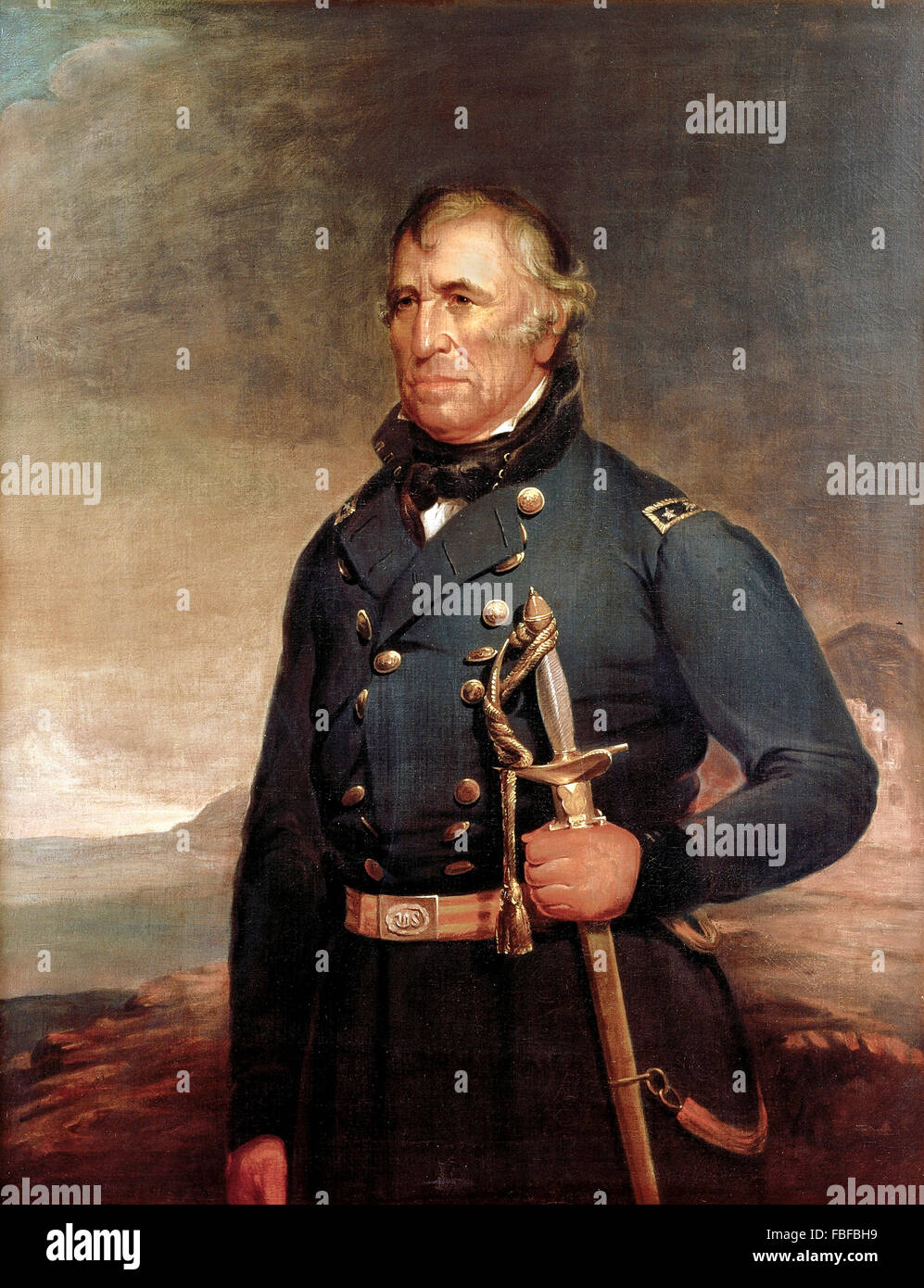 Zachary Taylor, portrait of the 12th US President  by Joseph Henry Bush, 1848 - Stock Image