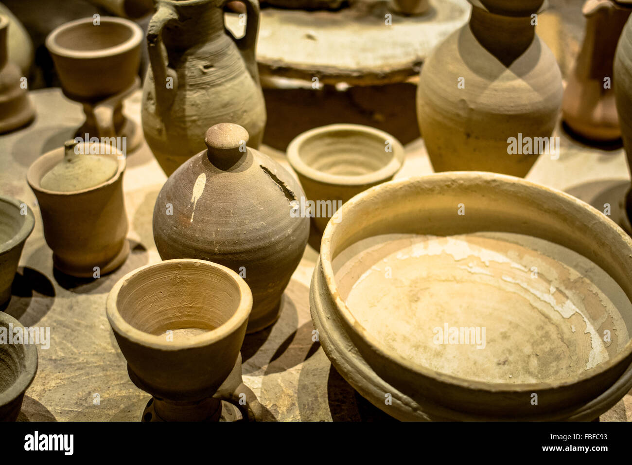 Group of traditional handmade ceramic crafts - Stock Image