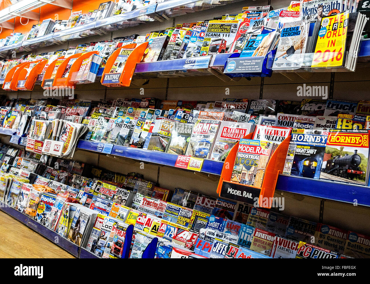 The magazine section in a WH Smith store, UK - Stock Image