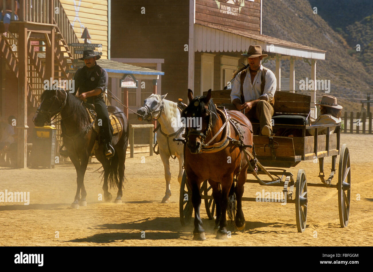 Desert of Tabernas.Actors at Film set of at Mini Hollywood. Almeria province, Andalucia, Spain Stock Photo