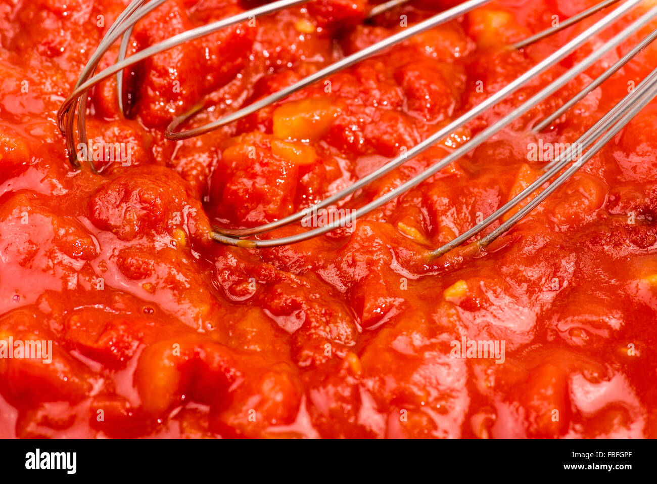 tomato puree and tomato paste, Italian cooking, fruit, red, smashed, tasty, in the Bowl, verrürt, soggy, mud, - Stock Image