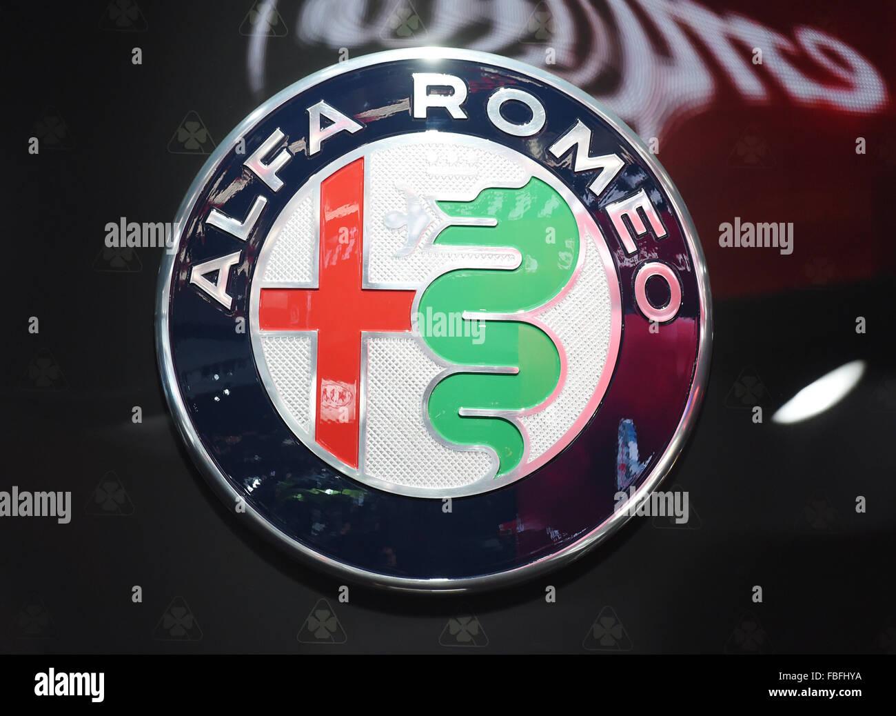 Alfa Romeo Logo Stock Photos Images Alamy Symbol Detroit Michigan Usa 12th Jan 2015 An Seen