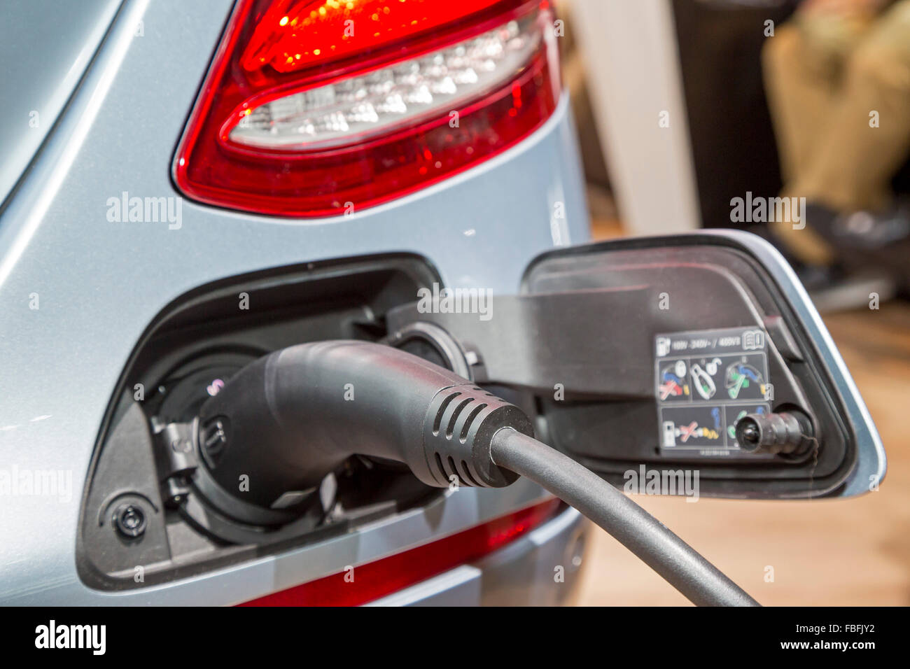 Detroit, Michigan - The Mercedes E-Class Plug-in Hybrid electric car on display at the North American International - Stock Image