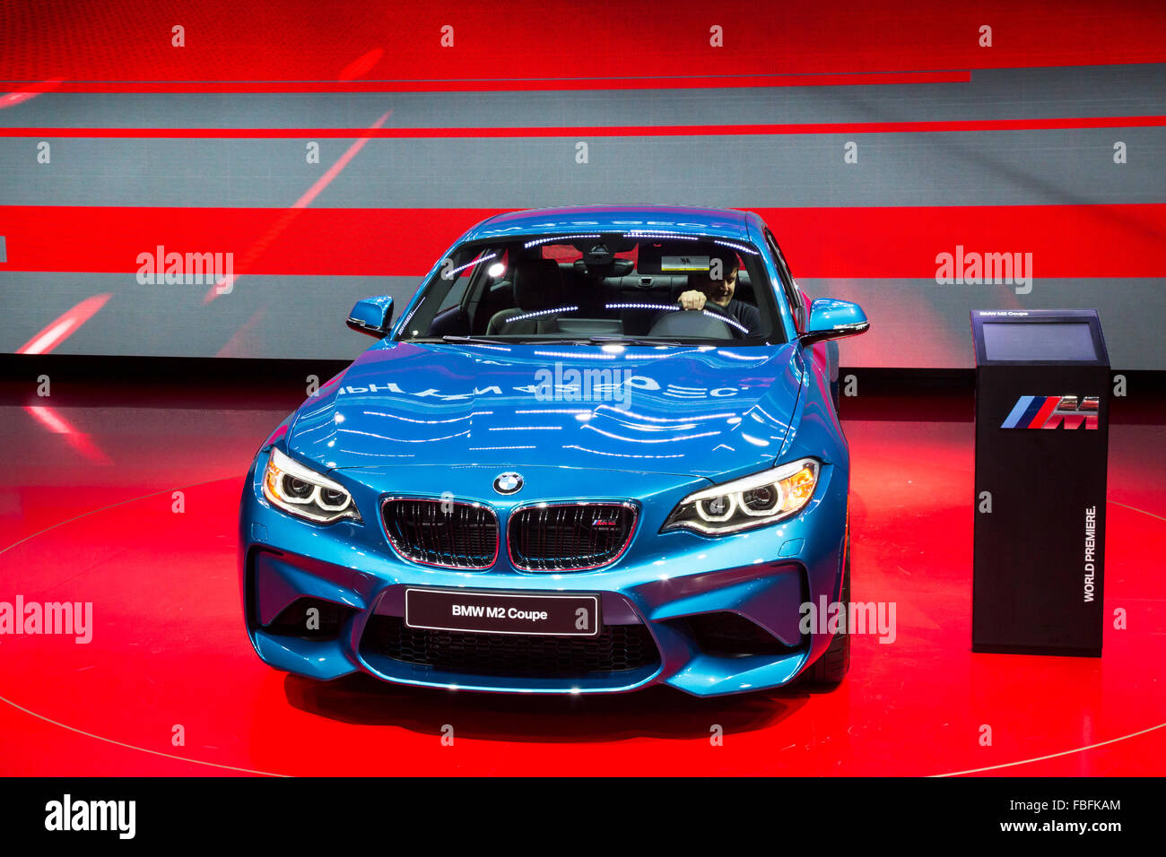 Detroit, Michigan - The BMW M2 coupe on display at the North American International Auto Show. - Stock Image
