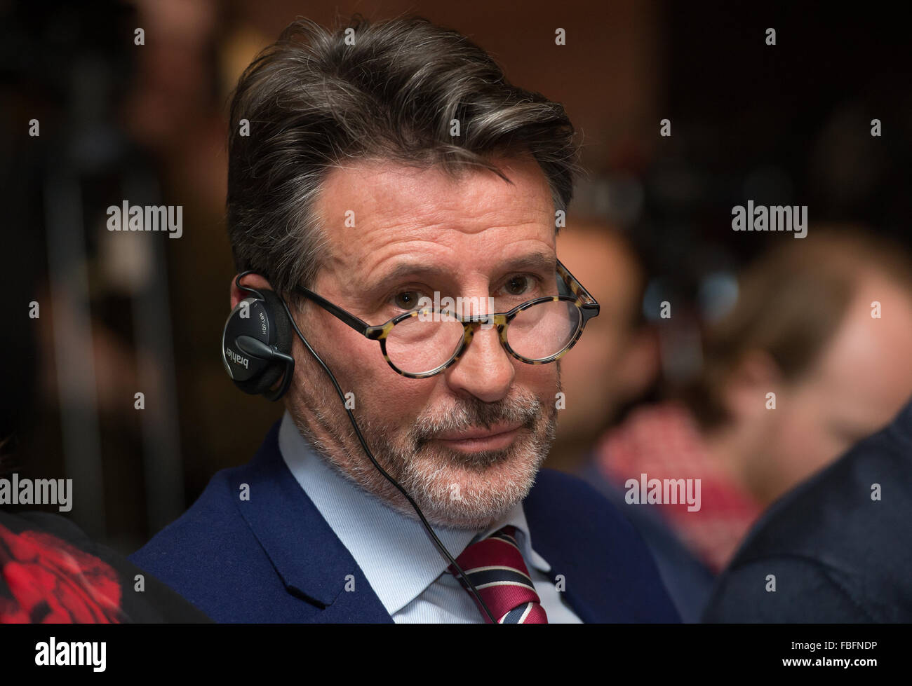 Unterschleissheim, Germany. 14th Jan, 2016. Sebastian Coe, president of the International Association of Athletics - Stock Image