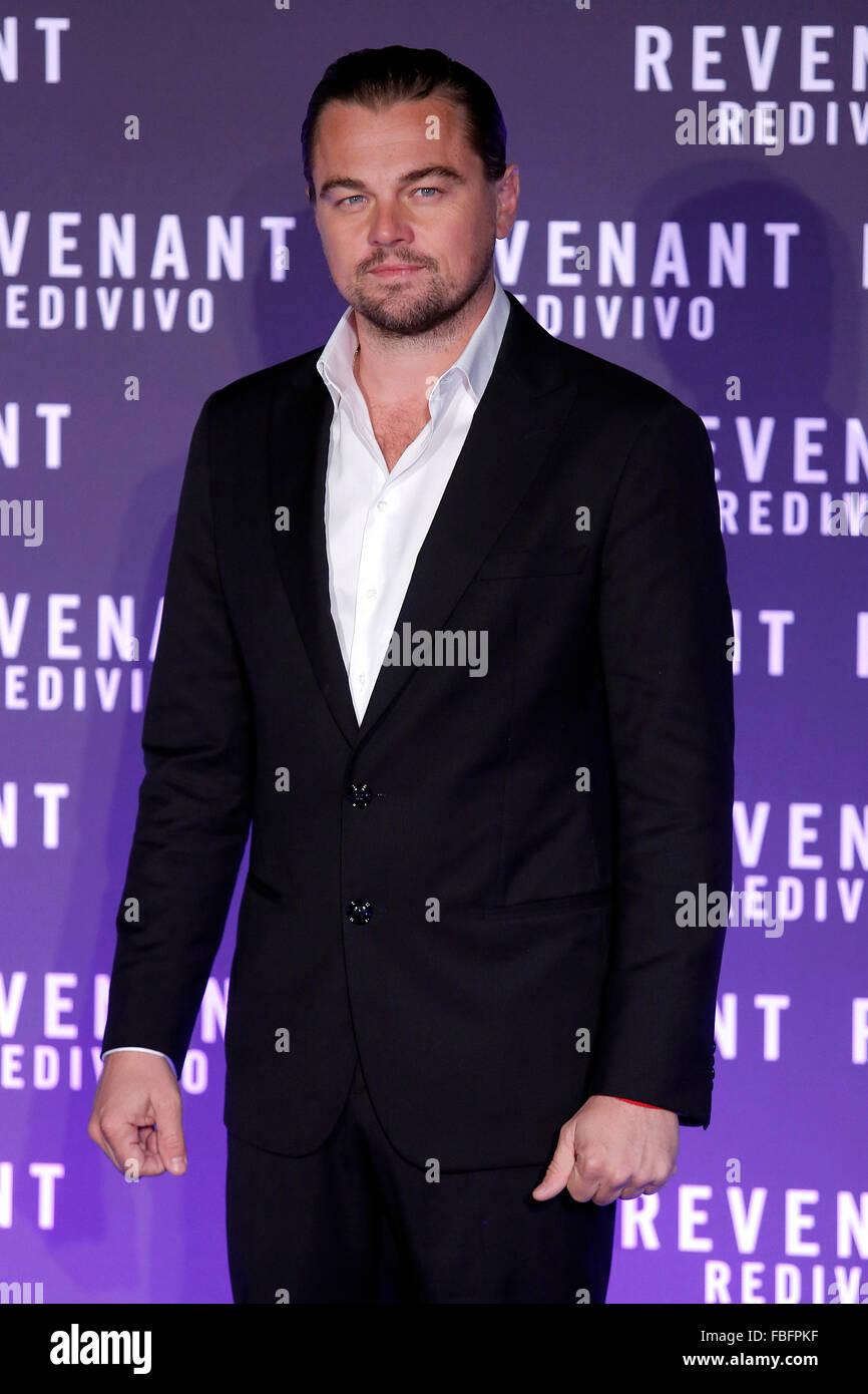 Rome, Italy. 15th Jan, 2016. Leonardo Di Caprio, Casa del Cinema. Redivivo Anteprima. Revenant Red Carpet Premiere. Stock Photo