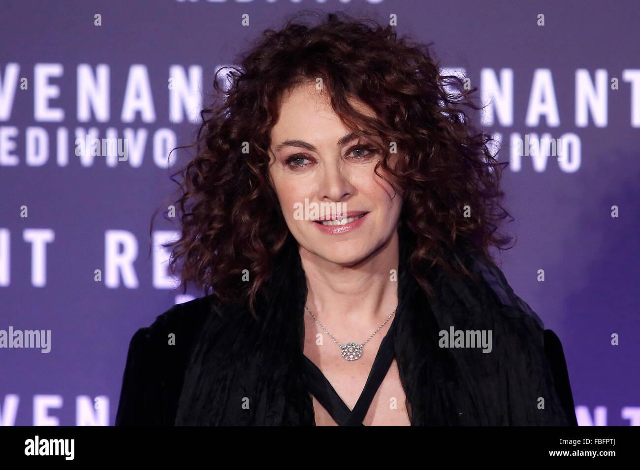 Rome, Italy. 15th Jan, 2016. Elena Sofia Ricci, Casa del Cinema. Redivivo Anteprima. Revenant Red Carpet Premiere. - Stock Image