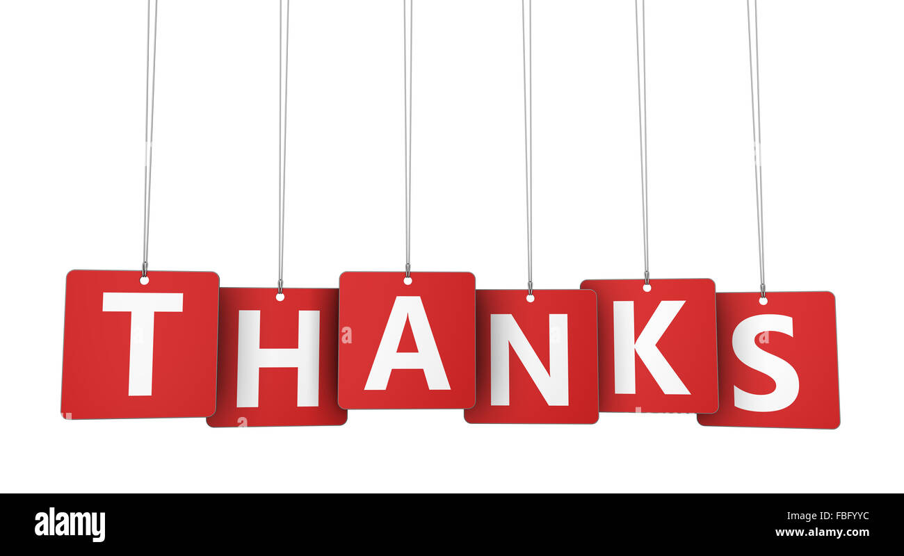 Thanks Sign And Letters On Hanged Red Paper Tags Marketing And Stock