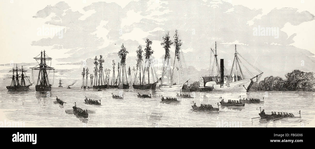 The masquerade of War - Ingenious methods of disguising the masts and hulls of Commodore Porter's mortar flotilla - Stock Image