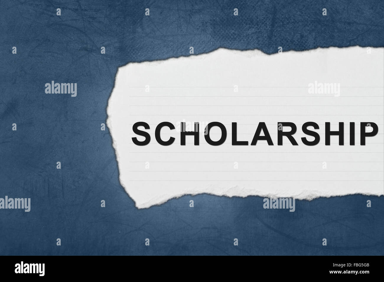 scholarship with white paper tears on blue texture - Stock Image