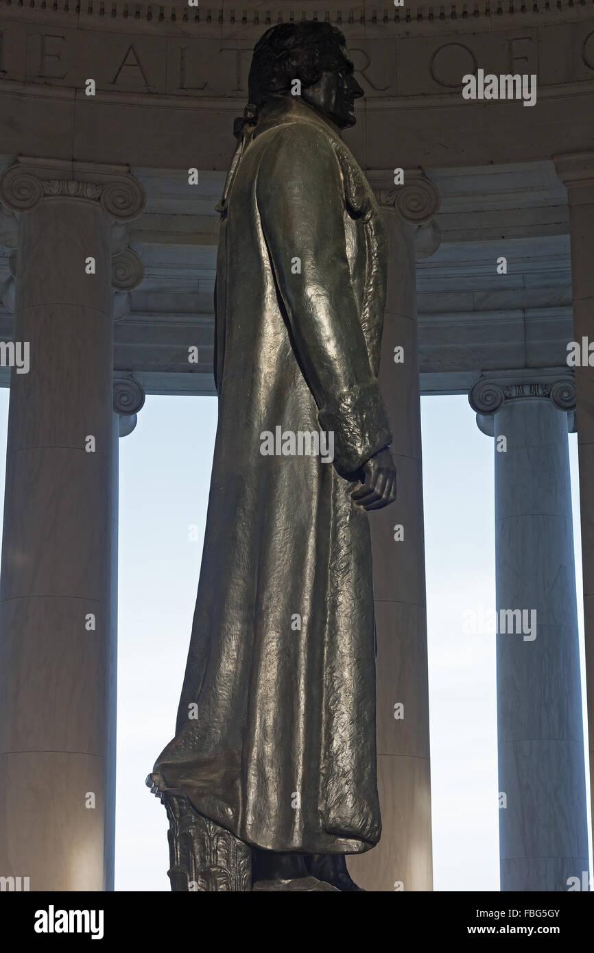 Thomas Jefferson statue inside his memorial in Washington DC, USA. Stock Photo