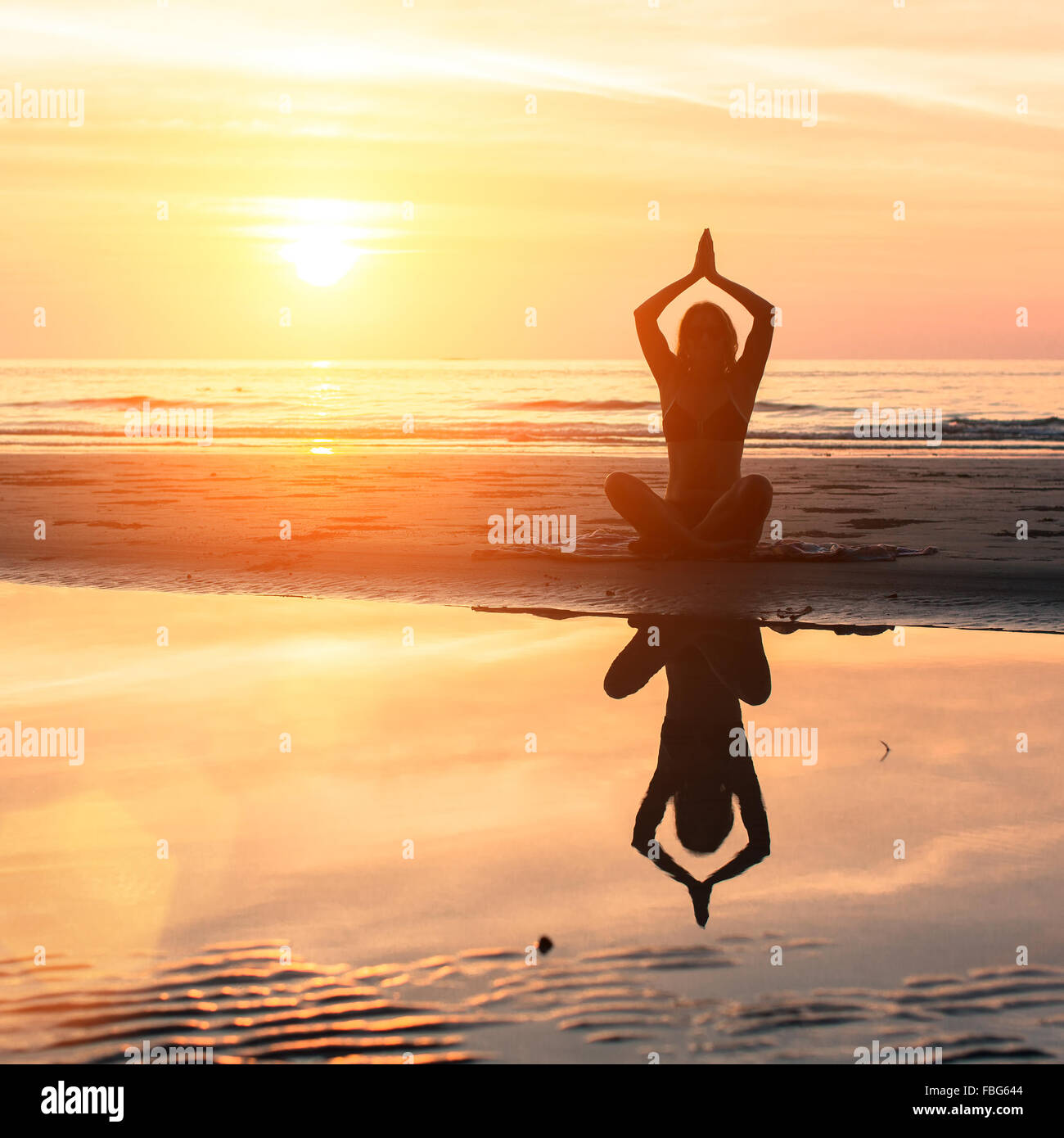 Yoga And Healthy Lifestyle Silhouette Meditation Girl On The Stock Photo Alamy