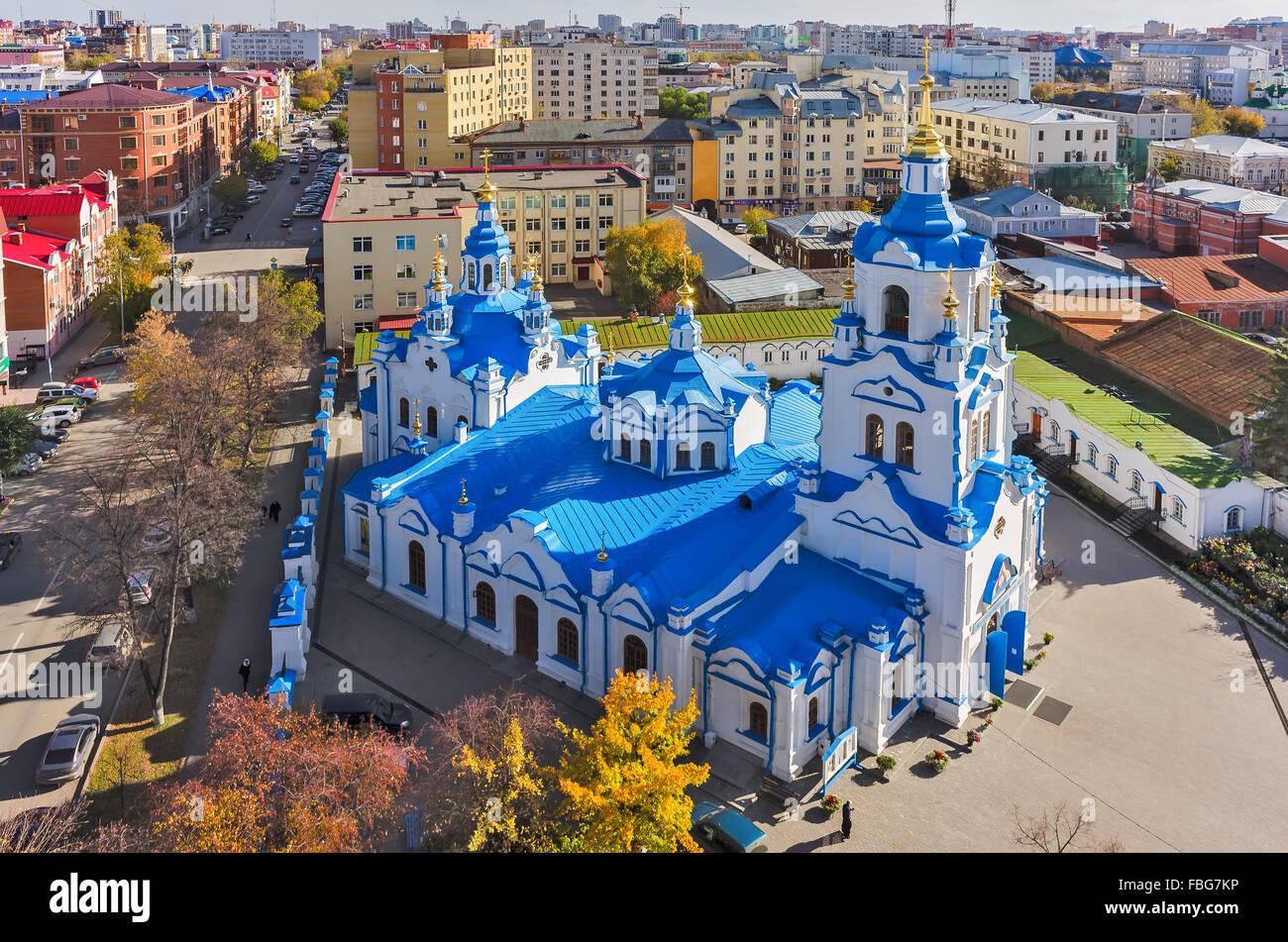 Aerial view on Znamensky church. Tyumen. Russia Stock Photo