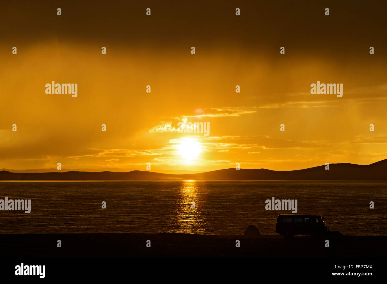 Sunset at Ger camp, Khatan Ugii, Ögii Lake, Arkhangai Aimag, Mongolia - Stock Image