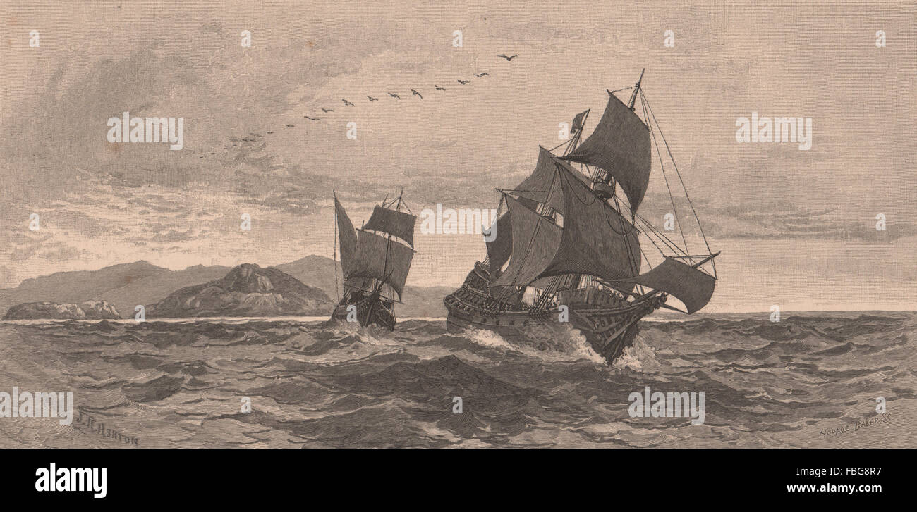 TORRES sighting CAPE YORK. Queensland. Australia, antique print 1888 - Stock Image