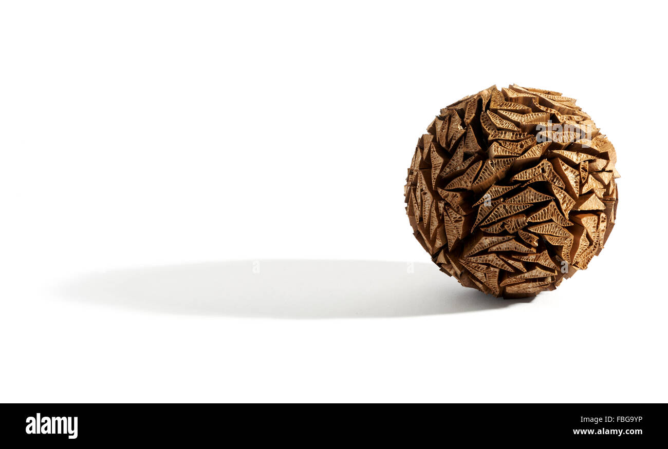 Single round object like a pine cone or cork decoration over white background with long shadow - Stock Image