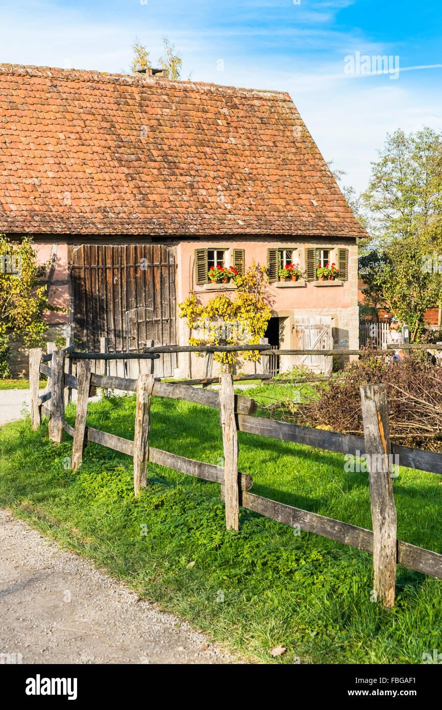 historic farmhouse, open-air museum, wackershofen, schwaebisch hall, baden-wuerttemberg, germany - Stock Image