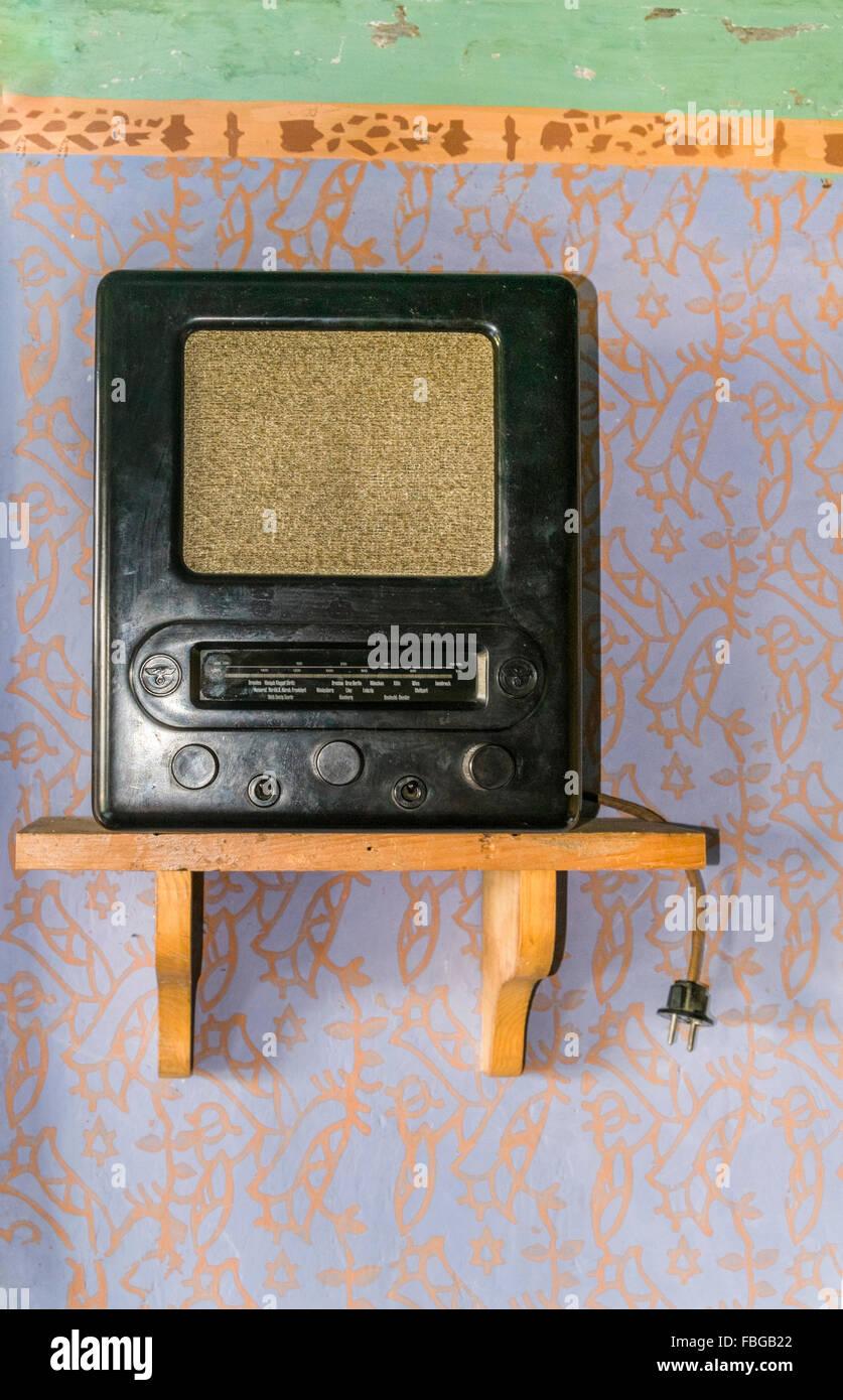 historic radio receiver the so-called _volksempfaenger_, open-air museum, wackershofen, schwaebisch hall, baden - Stock Image