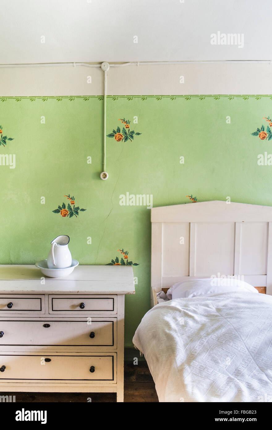 historic farmhouse bedroom, open-air museum, wackershofen, schwaebisch hall, baden-wuerttemberg, germany - Stock Image