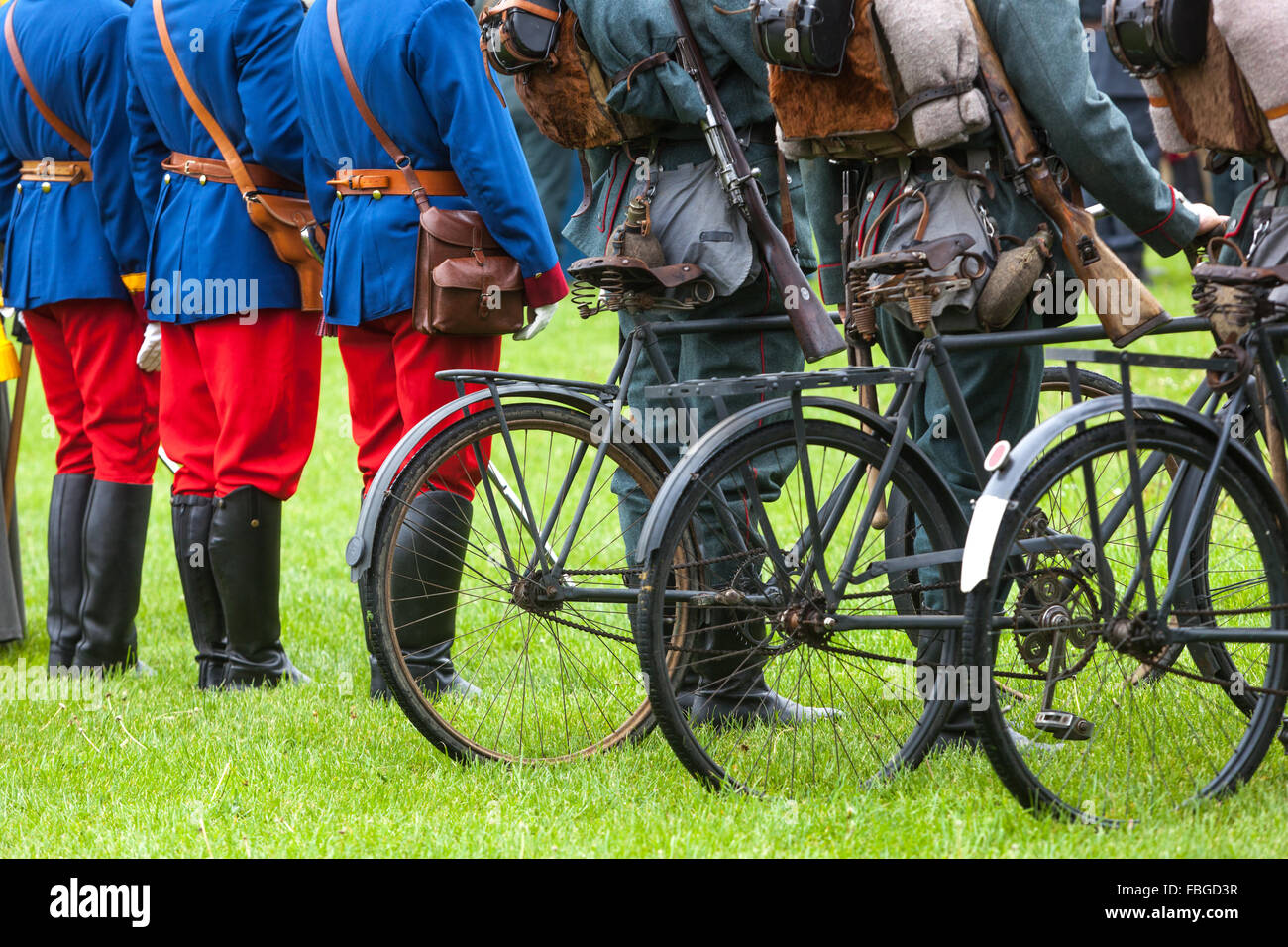 Mobile Prussian soldiers with their bicycles, Czech Republic - Stock Image