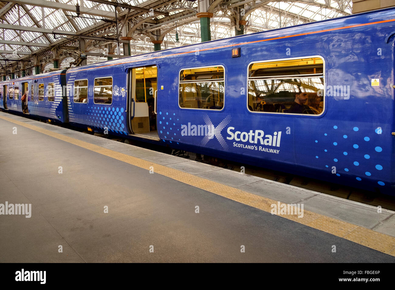 scotrail train carraige station scotland uk - Stock Image