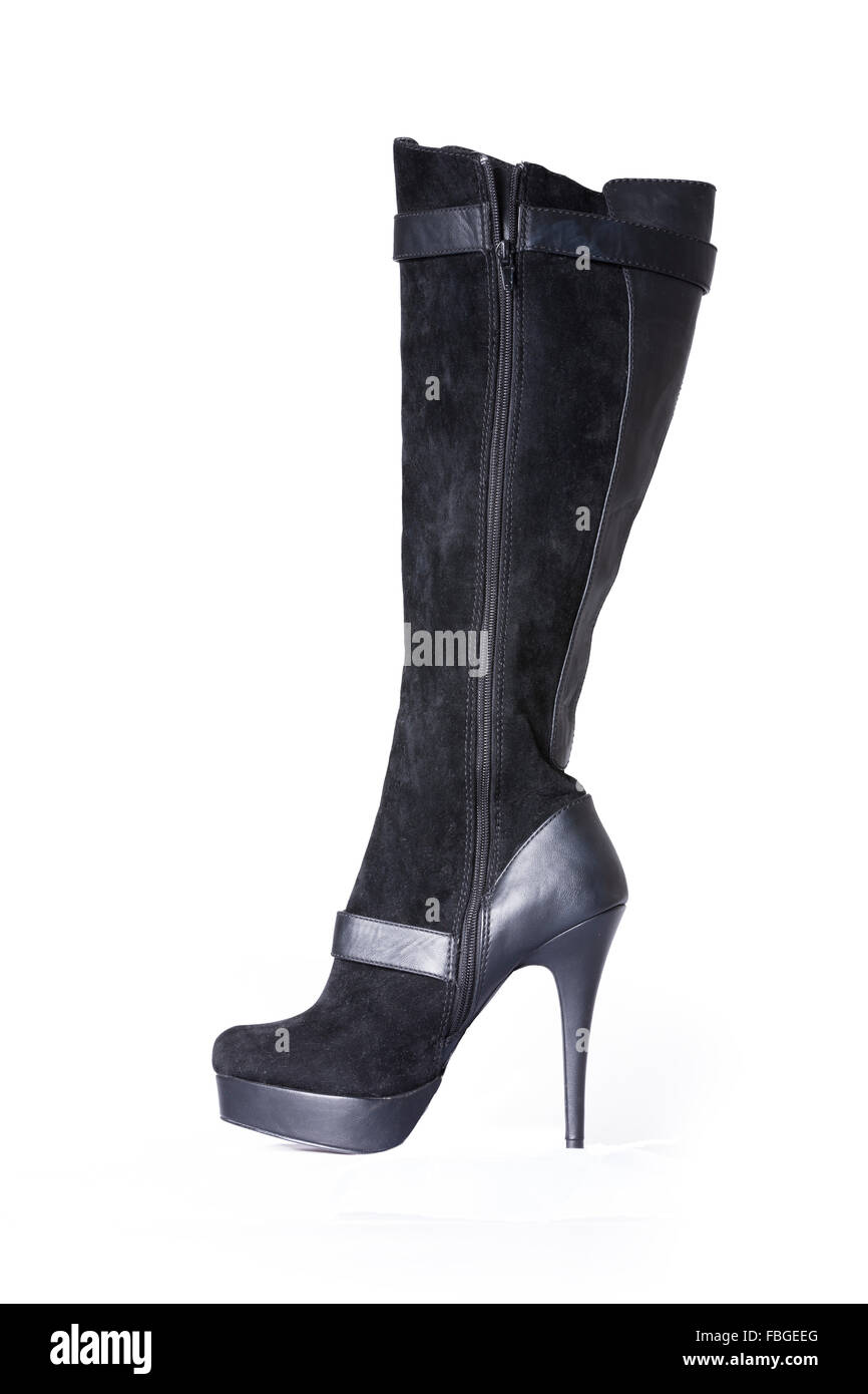 Suede and leather womens black knee length  stiletto boots. - Stock Image