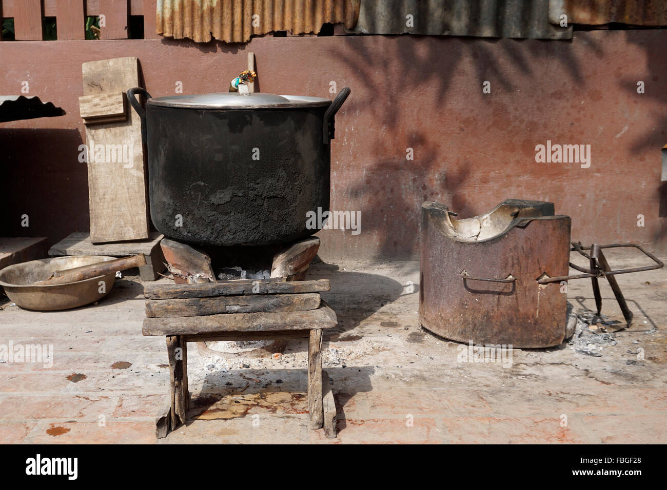 Local stove kitchen outdoor in Laos - Stock Image
