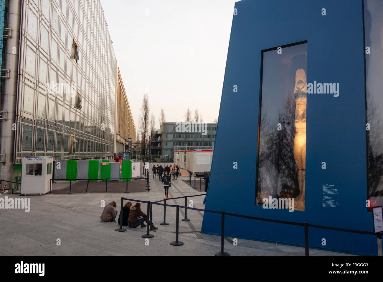 Facade of the Arab World Institute, Institut du Monde Arabe, in Paris, France. - Stock Image