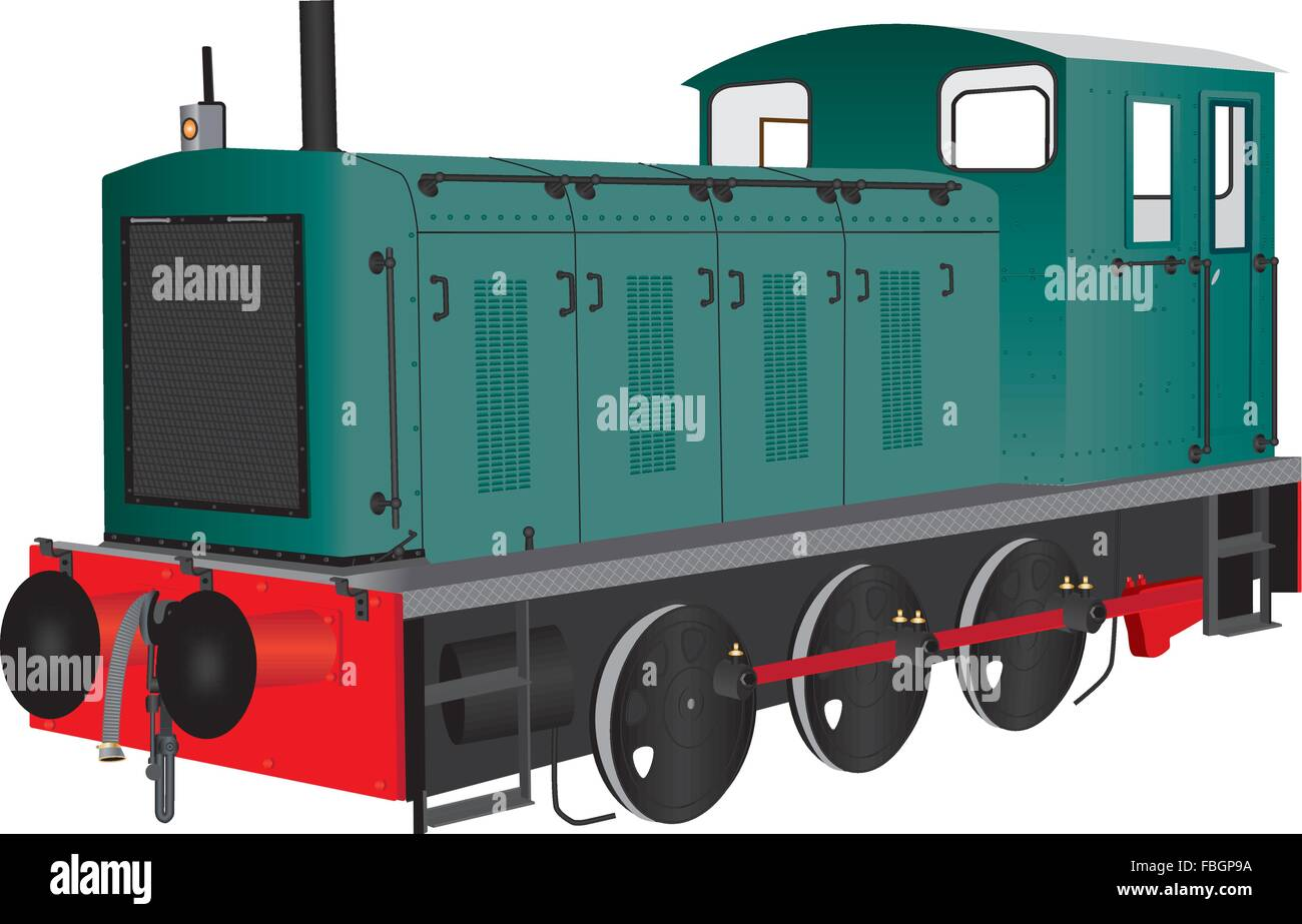 A Green Diesel Shunting Locomotive or railroad switcher isolated on white - Stock Vector